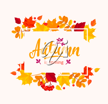 Autumn is coming banner with autumn leaves frame. Vector illustration.