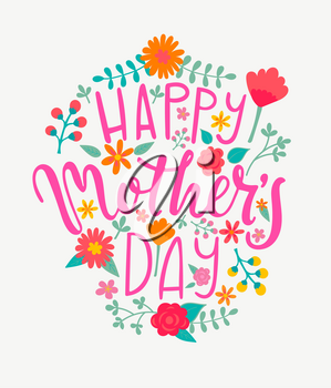 Happy Mother's day card with handdrawn lettering. Vector Illustration.