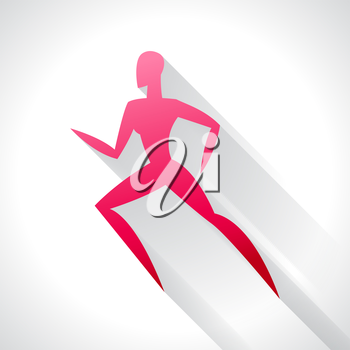 Athletics emblem of abstract stylized running woman. Sport concept for advertising, branding, illustration.