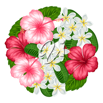 Background with tropical flowers hibiscus and plumeria. Image for design on t-shirts, prints, invitations, greeting cards, posters.