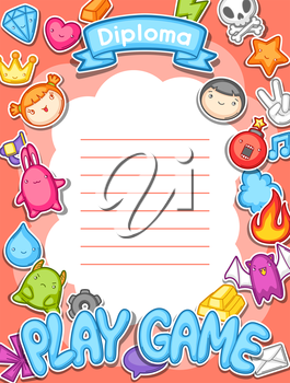 Game kawaii diploma. Cute gaming design elements, objects and symbols.