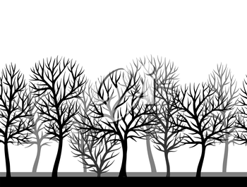 Seamless pattern with abstract stylized trees. Natural view of black silhouettes.