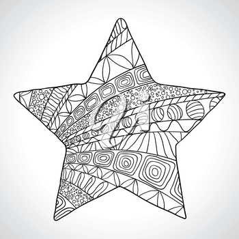 Decorative star isolated on wight bacground. Vector.