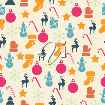 Vector seamless pattern with retro Christmas icons.