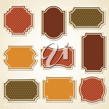 Textured labels and stickers set in retro style.
