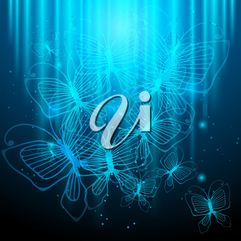 Night butterflies on glowing abstract background.