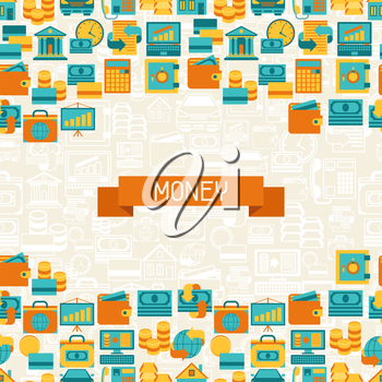 Seamless pattern of banking icons.