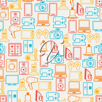 Home appliances and electronics seamless patterns.