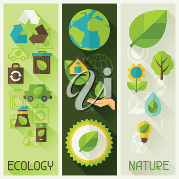 Ecology banners with environment, green energy and pollution icons.