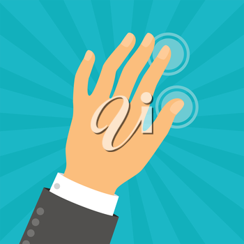 Hand touching fingers in flat design style.
