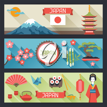 Japan banners design. Illustration on Japanese theme.