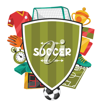 Sports background with soccer football symbols in cartoon style.