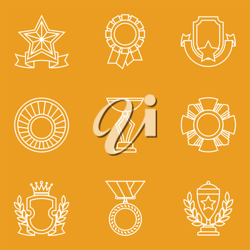 Trophy and awards icons set in linear design style.