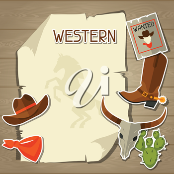 Wild west background with cowboy objects and stickers.