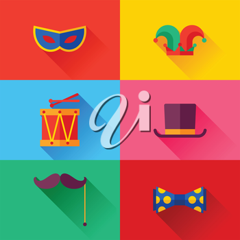 Celebration carnival set of flat icons and objects.