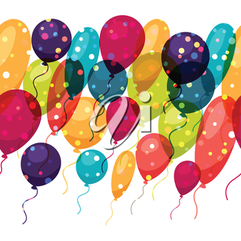 Holiday seamless pattern with shiny colored balloons.