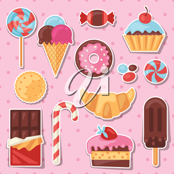 Set of colorful sticker candy, sweets and cakes.