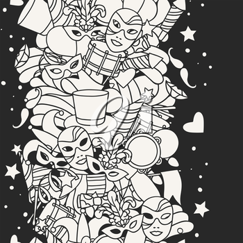 Carnival show seamless pattern with doodle icons and objects.