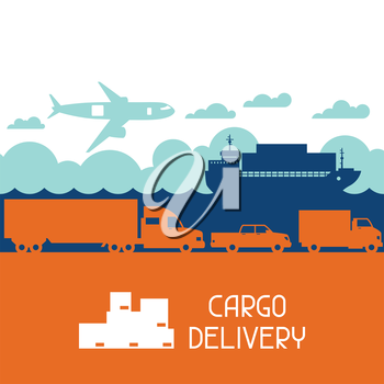 Freight cargo transport icons background in flat design style.