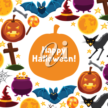 Happy halloween greeting card with characters and objects.