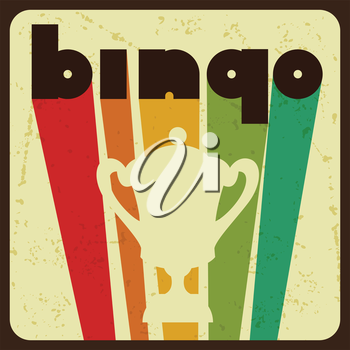 Bingo or lottery retro game illustration with award.