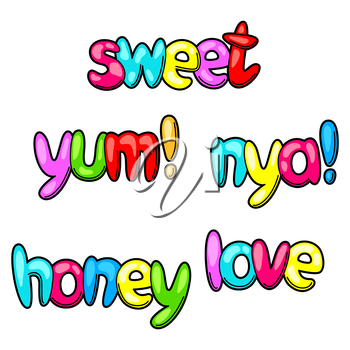 Set of sweet and yum words in cartoon style.