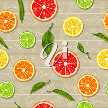 Seamless pattern with citrus fruits slices. Mix of lemon lime grapefruit and orange.