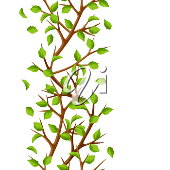 Summer seamless pattern with branches of tree and green leaves. Seasonal illustration.