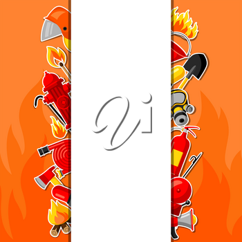 Background with firefighting sticker items. Fire protection equipment.
