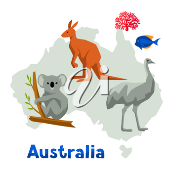 Illustration of Australia map with wildlife animals