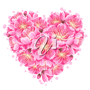 Heart background with sakura or cherry blossom. Floral japanese ornament of blooming flowers.