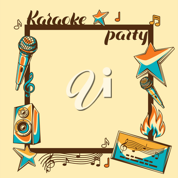 Karaoke party card. Music event background. Illustration in retro style.