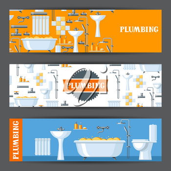 Bathroom interior. Plumbing banners. Illustration for sanitary engineering shop. Sale, service and installation.