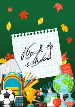Back to school background with education items. Illustration of colorful supplies and stationery.