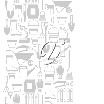 Seamless pattern with garden tools and icons. All for gardening business illustration.