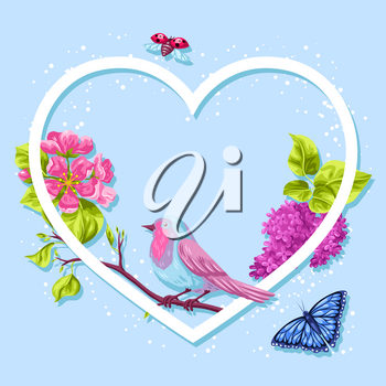 Spring garden frame. Natural illustration with blossom flower, robin birdie and butterfly.