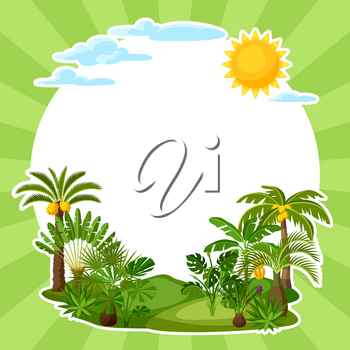 Background with tropical palm trees. Exotic tropical plants Illustration of jungle nature.