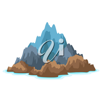 Illustration of rocky island in ocean. Landscape with ocean and rocks. Travel background.