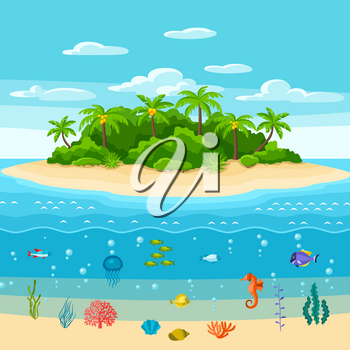Illustration of tropical island in ocean. Landscape with ocean, palm trees and underwater life. Travel background.