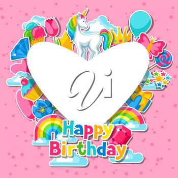 Happy birthday. Card with unicorn and fantasy items.