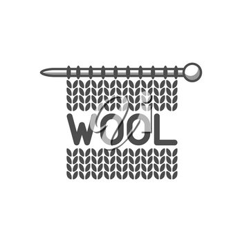Wool emblem with knitted fabric and needle. Label for hand made, knitting or tailor shop.