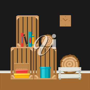 Interior home decor. Wooden boxes. Illustration in flat style.