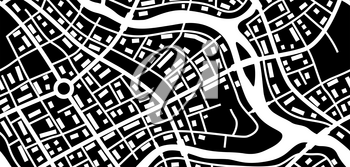 Abstract city map banner. Black and white illustration of streets, roads and buildings.