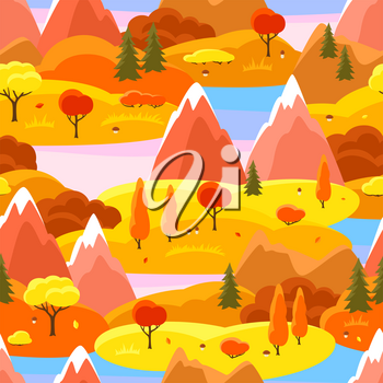 Autumn seamless pattern with trees, mountains and hills. Seasonal landscape illustration.