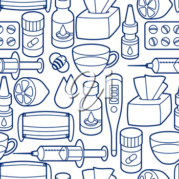 Seamless pattern with medicines and medical objects. Treatment of cold and flu.
