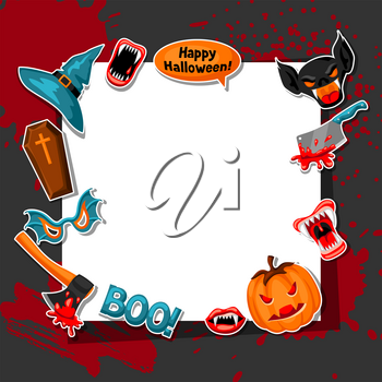 Happy Halloween frame with cartoon holiday sticker symbols. Invitation to party or greeting card.