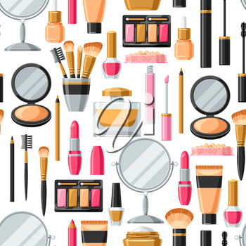 Cosmetics for skincare and makeup. Seamless pattern for catalog or advertising.