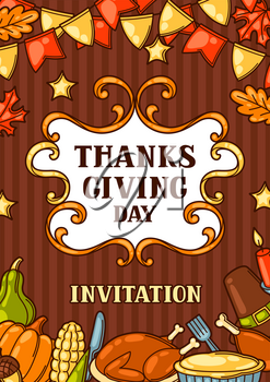 Happy Thanksgiving Day invitation with holiday objects.