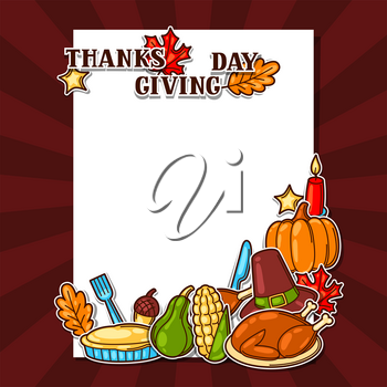 Happy Thanksgiving Day background with holiday objects.