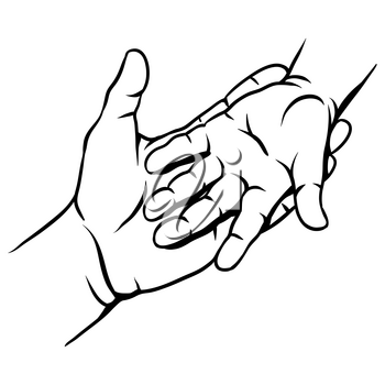 Mom holds the child hand. Illustration of love, care and kindness.